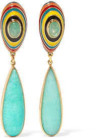 percossi papi earrings lyst percossi papi gold plated enamel emerald and amazonite