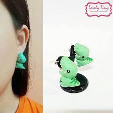 t rex earrings kawaii earring t rex bite dino earrings stud polymer clay