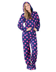 footed pajamas navy pink polka hoodie chenille