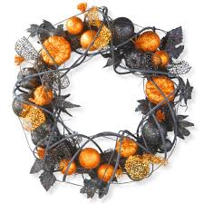 Halloween Wreath Home Accents Holiday 22 In Black Wood Curl Wreath With Black Bow