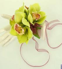 orchid wrist corsage silk handmade apple green and burgundy orchid wrist corsage