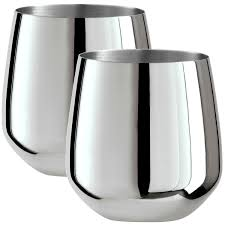 oggi kitchen canisters oggi stainless steel stemless wine glasses set of 2 17 fl oz