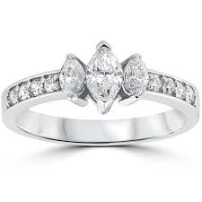 marquise diamond engagement ring 1ct 3 marquise diamond engagement ring 14k white gold