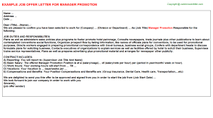 manager promotion offer letter