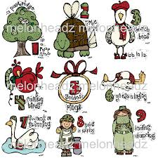 christmas jeep clip art melonheadz 12 days of christmas set