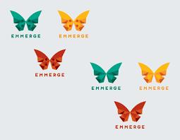 sharp edged modern butterfly logo for emmerge logo design contest