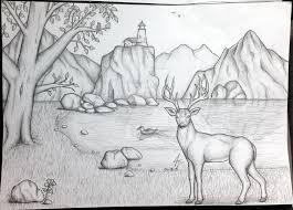 pencil drawing scenery by pluckinthaguitarra on deviantart art