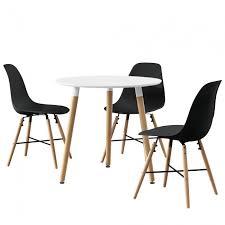essgruppe küche en casa esstisch rund weiß ø80cm mit 3 stühlen schwarz