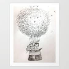 alice u0026 amelie dandelion hotair balloon art print by jennifercole