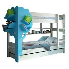 Kids Triple Bunk Bed With Tree Bookcase In White  Blue Cuckooland - Funky bunk beds uk