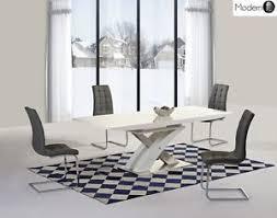 High Gloss Extending Dining Table Modern White High Gloss Extending Dining Table And Grey Chairs
