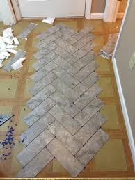 diy herringbone vinyl tile pattern via grace gumption kitchen