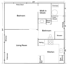 easy floor plans 24 x 24 in quarters with laundry room your