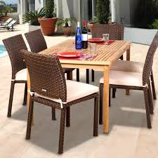 Stackable Patio Furniture Set Amazonia Teak Luxemburg 6 Person Resin Wicker Patio Dining Set
