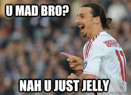 You Jelly Bro Meme - ibrahimovic u mad bro memes quickmeme