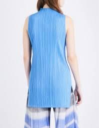 issey miyake light blue pleats please issey miyake high neck sleeveless pleated top light