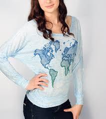 World Map T Shirt by Light Blue U0026 Navy World Map Dolman Shirt Women U0027s Clothing
