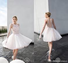 discount 2016 short wedding dresses jewel lace sequins sheer back
