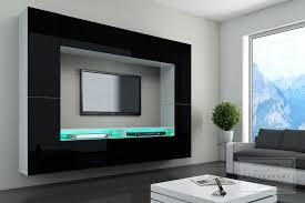 Wohnzimmer Beleuchtung Modern Wohnwand Cinema Hochglanz Mediawand Tv Wand Led Beleuchtung