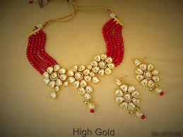 red necklace online images A2 floral choker necklace earrings set kundan white red indian png