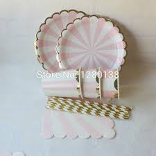 new year plates aliexpress buy pink gold foil striped tableware paper party