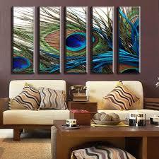 aliexpress com buy 5 pcs set peacock feather wall art top home