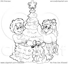 clipart outlined dog and kids decorating a christmas tree