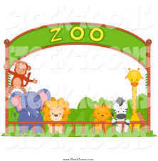 stock cartoon of a zoo animals under an entry banner by bnp design
