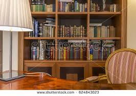 Classic Bookcase Laptop Book Lying On Desk Classic Stock Photo 83045623 Shutterstock