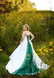 Green Wedding Dresses White And Green Wedding Dress Ideal Weddings