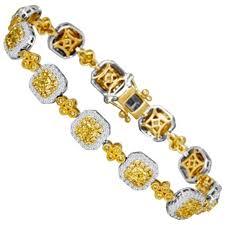 double gold bracelet images Fancy yellow diamond double halo two color gold bracelet for sale jpg