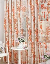 Orange Panel Curtains Leaf Printed Eco Friendly Home Orange Window Curtains