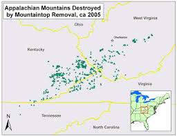 Virginia Mountains Map by Mountaintop Removal Coal