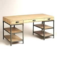 Steel Office Desks Metal Wood Desks Modern Office Desk Wood Top With Metal Base Black