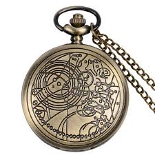 ladies pocket watch necklace images Vintage bronze siver doctor who pocket watch necklace men ladies jpg