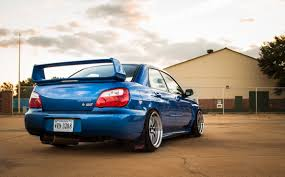 wallpaper subaru impreza wrx sti blue rear view hd picture