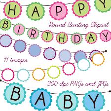 bunting clip art clipart round baby shower birthday bunting