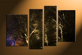 Black Forest Home Decor 4 Piece Trees Scenery Black Multi Panel Art