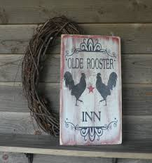 rooster sign wall hanging primitive rooster sign old rooster