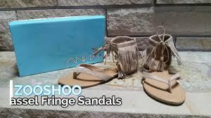 shoe try on review zooshoo ruffle fringe gladiator sandal youtube
