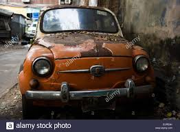 old fiat car at chinatown siang kong junkyard bangkok thailand