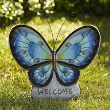 welcome butterfly with lights blue outdoor living outdoor