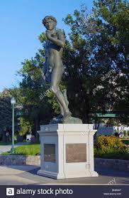 Michelangelo David Statue Replica Of Michelangelo David Statue In A Park In Sioux Falls