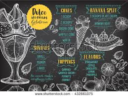 ice cream menu placemat food restaurant stock vector 428958025