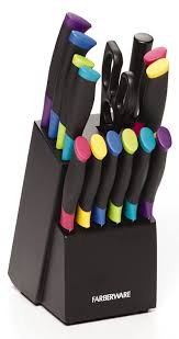 amazon com farberware 15 piece multicolor stainless steel knife