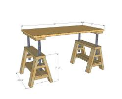 Adjustable Height Desk Plans by Ana White Modern Indsutrial Adjustable Sawhorse Desk To Coffee