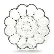 devilled egg plate anchor hocking fairfield clear glass deviled egg plate