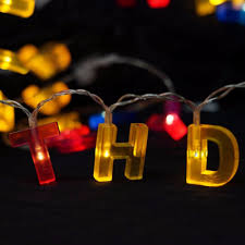 free shipping colorful letter shaped happy birthday led string