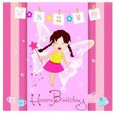 happy birthday card with cute fairy free vector in adobe