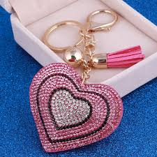 color key rings images Heart key rings crysral gold color ball bag purse key chain women jpg